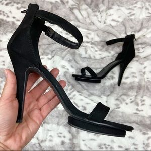 Revamped Black Faux Suede Ankle Strap Heels Size 8